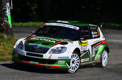 Barum Rally 2011. ZLIN,CZECH REP.-AUGUST 28. Driver Hänninen J.and co-driver Markkula M with car Skoda Fabia S2000 at Barum Rally event,speed check Nr 13.August Royalty Free Stock Photos