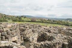 BARUMINI Sardinia, Italien - Februari 23, 2019: Fördärvar av Su Nuraxi nära Barumini i Sardinia royaltyfria bilder