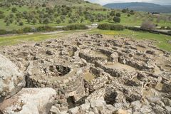BARUMINI Sardinia, Italien - Februari 23, 2019: Fördärvar av Su Nuraxi nära Barumini i Sardinia arkivbilder