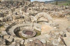 BARUMINI, Sardinige, Italië - Februari 23, 2019: De ruïnes van Su Nuraxi dichtbij Barumini in Sardinige royalty-vrije stock afbeelding