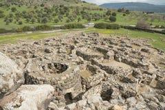 BARUMINI, Sardinige, Italië - Februari 23, 2019: De ruïnes van Su Nuraxi dichtbij Barumini in Sardinige stock afbeeldingen