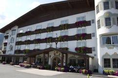Barvarian brengt de Duitse stad van Leavenworth onder Stock Foto's