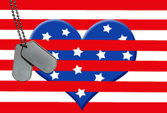military dog tags on star and stripe heart Stock Image