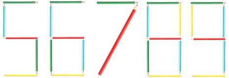 Barwiący ołówek liczby 5-9 Zdjęcia Stock