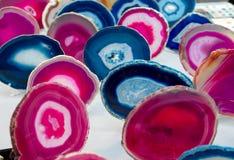 Barwiący plasterki półszlachetny kamienia agata kamień Zdjęcie Stock