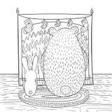 Barwiący strona królika i niedźwiedzia brunatnego siedzi przed firep ilustracji