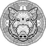 Barwić antistress stronę Dziki knur rysują ręką z atramentem Zendoodle Zdjęcia Royalty Free