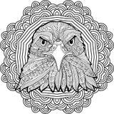 Barwić stronę dla dorosłych Srogo orzeł na tle kółkowy mandala wzór ilustracji