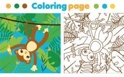 Barwić stronę dla dzieci Małpa w dżungli Rysować dzieciak aktywność Printable berbeć zabawa Zdjęcia Royalty Free