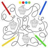 Barwić stronę z babeczki rysunkową grze dla dzieci Obraz Stock