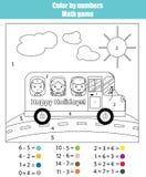 Barwić stronę z dzieciakami w autobusie szkolnym Kolor liczby matematyki grze Zdjęcie Stock