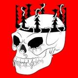 Barwić stronę z Halloweenową czaszką z koroną Zdjęcia Stock