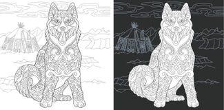 Barwić stronę z husky psem ilustracja wektor