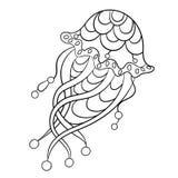 Barwić stronę z jellyfish w ornamnets w wektorowej ilustraci Obrazy Royalty Free