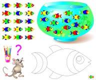 Barwić stronę z logiki łamigłówką dla dzieci Potrzebuje znajdować jedynego jeden rybiego chybianie w akwarium i malować czarny i  Zdjęcia Royalty Free
