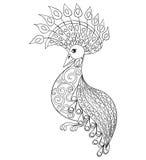 Barwić stronę z ptakiem, zentangle illustartion ptak dla dorosłego Fotografia Stock