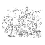 Barwić strona kontur dekoruje choinki kreskówki chłopiec Boże Narodzenia nowy rok, royalty ilustracja