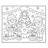 Barwić strona kontur dzieci z prezentami przy choinką Boże Narodzenia nowy rok, Kolorystyki książka dla dzieciaków royalty ilustracja