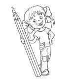 Barwić strona kontur kreskówki dziewczyna z ołówkiem Zdjęcia Stock