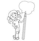 Barwić strona kontur kreskówki dziewczyna z ołówkiem Fotografia Royalty Free