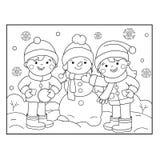 Barwić strona kontur kreskówki dziewczyny łyżwiarstwo kiting rzeczna narciarska śnieżna sport zima Kolorystyki książka dla dzieci royalty ilustracja