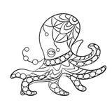 Barwić strona wektor z ośmiornicy zwierzęciem w ornamentach Zdjęcie Stock