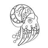 Barwić strona wektor z ośmiornicy zwierzęciem w ornamentach Obrazy Royalty Free