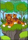 Barwić strony dzikich zwierząt Uśmiechnięty macierzysty tygrys z jej małym ślicznym dzieckiem Obraz Stock