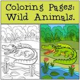 Barwić strony: Dzikie Zwierzęta Macierzysty aligator ilustracji