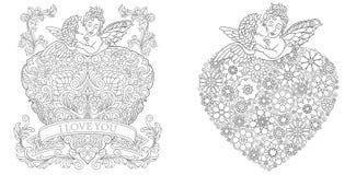 Barwić strony Kolorystyki książka dla dorosłych Koloryt obrazki Walentynka dnia kartki z pozdrowieniami rysować w zentangle stylu ilustracji