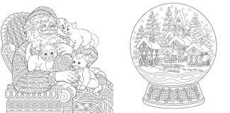 Barwić strony Kolorystyki książka dla dorosłych Koloryt obrazki z Święty Mikołaj i magiczną śnieżną piłką Antistress freehand nak ilustracja wektor