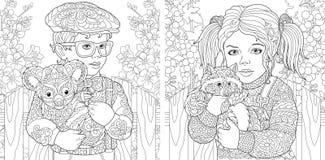 Barwić strony Kolorystyki książka dla dorosłych Koloryt obrazki z dzieciakami trzyma owłosionych zwierzęta rysujący w zentangle s ilustracja wektor