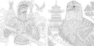 Barwić strony Kolorystyki książka dla dorosłych Koloryt obrazki z kakadu i orłem Antistress freehand nakreślenie rysunek z ilustracja wektor