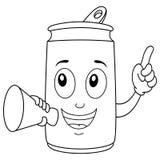Barwić Szczęśliwą Sodowaną puszkę i megafon ilustracji