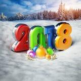 Barwiąca liczba 2018 i ornamenty ilustracja 3 d Zdjęcie Royalty Free