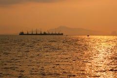 barwi ciemności horyzontalnego naturalnego fotografii morza wschód słońca fotografia stock