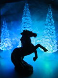 Barwiący akrylowi drzewa z akrylowym koniem fotografia stock