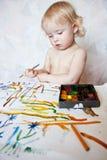 barwi dziewczyny mały farby bawić się Zdjęcie Stock