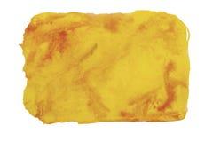 Barwi, kolor żółty - czerwona pluśnięcie akwareli ręka malująca odizolowywającą na w obraz royalty free