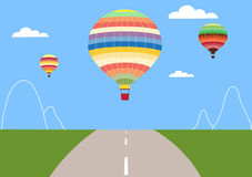 Barwi lotniczego balon nad drogą, wektor Fotografia Royalty Free