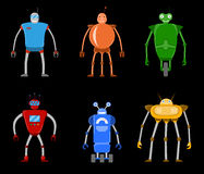 Barwi płaską ikonę ustawiającą nowożytni nowożytni roboty Przyszłościowi machinalni roboty Obraz Stock