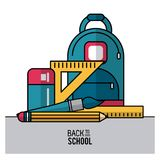 Barwi plakat z powrotem szkoła z plecakiem i istotni elementy szkoła w zbliżeniu Zdjęcia Royalty Free