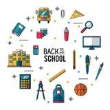 Barwi plakat z powrotem szkoła z istotnymi elementami szkoła Fotografia Stock