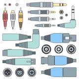 Barwi różnorodnych audio włączniki ustawiających wkłady i royalty ilustracja
