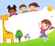 Barwi ramę z grupą dzieciaki i żyrafa, tło ilustracja wektor