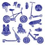 Barwi set sylwetki sportowi towary dla dzieciaków wektor ilustracja wektor