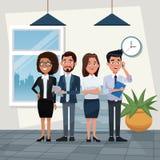 Barwi tła miejsca pracy biurowego pełnego ciało ustawiającego kierownictwa męscy i żeńscy charaktery dla biznesu royalty ilustracja