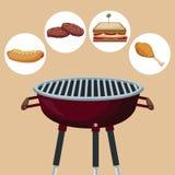 Barwi tło z grilla grillem z ikona pinkinu jedzeniem royalty ilustracja