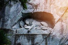 Barwiarski lwa zabytek lucerna, Szwajcaria Obrazy Stock