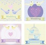 Barwiona ślubna ilustracja z miłość gołąbkami Obrazy Royalty Free